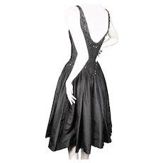 Ceil Chapman Couture Black Dress Beaded Silk Taffeta Late 1950's