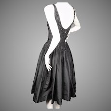 Ceil Chapman Couture Black Dress Beaded Silk Taffeta Late 1950's