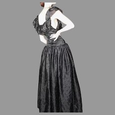 1980's Oscar de la Renta Black Silk Organza Eyelet Gown