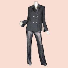 1996 Gianni Versace Couture Black Sequin Tuxedo Suit Sz 40 Italy