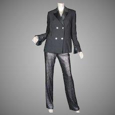 1996 Gianni Versace Couture Black Sequin Tuxedo Suit Sz 40 Italy