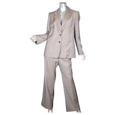 1990's Yves Saint Laurent Rive Gauche Micro Plaid Suit F46
