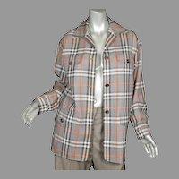 1980's Burberry Plaid Wool Jacket Sz 4
