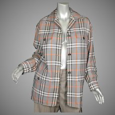 1980's Burberry Plaid Wool Jacket Sz 4