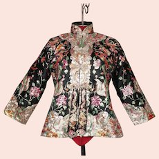 Show-Stopping 30's Chinese Embroidered Jacket Dragons Phoenixes