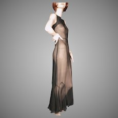 1930's Black Silk Chiffon Gown