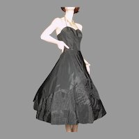 1950's Black Taffeta Dress Pleated Geometric Appliques