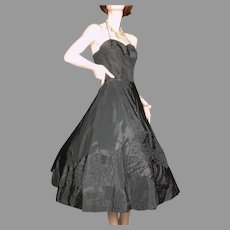 1950's Black Taffeta Dress Pleated Geometric Appliques