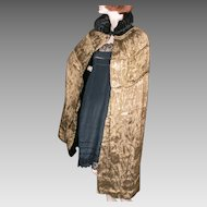 1920's Gold Lame Damask Black Velvet Cape Reversible