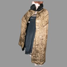 1920's Gold Lame Damask Black Velvet Cape Reversible