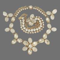 Miriam Haskell Pate de Verre Glass and Rhinestone Necklace Bracelet Earrings Set  ca 1960's