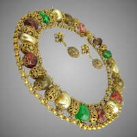 ca 1930 Miriam Haskell Choker Necklace & Earrings Art Glass Pearl