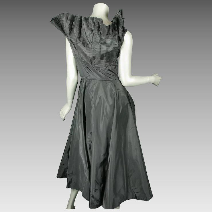 Superb 1950u0027s Ceil Chapman Black Taffeta Pleated Dress