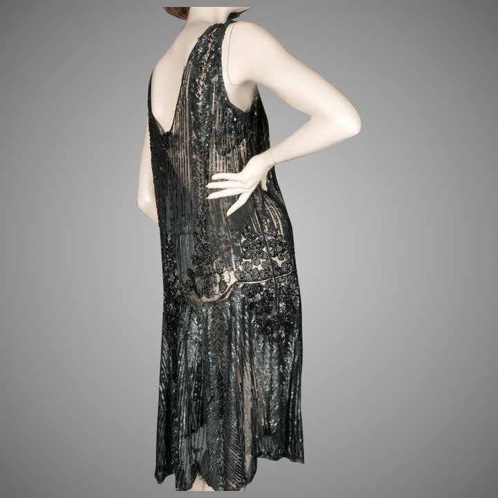 233714808b9 1920 s Black Beaded Sequin Flapper Dress   Giddy
