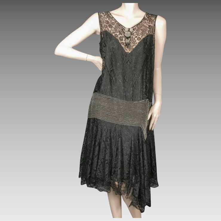 1920\'s Beaded Flapper Dress Mixed Lace Size Large : Giddy | Ruby Lane