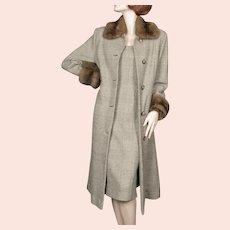 1990's Dennis Basso Coat and Dress Cashmere Sable  Glen Plaid