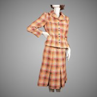1960s Hand Tailored Plaid Tweed Wool Suit Jack Clarke Ireland Marshall Field and Company