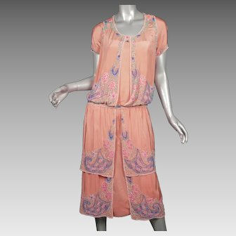 1920s Beaded Silk Flapper Dress Superb