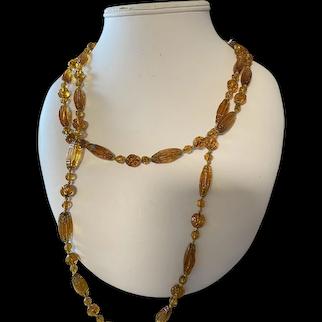 Antique Czech Amber Glass Necklace
