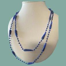 """Antique Blue Glass Flapper Necklace 26"""""""