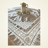 Antique Cotton Drawnwork Tablecloth