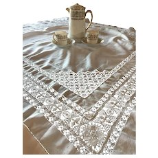 Antique Cotton Drawnwork Tablecloth