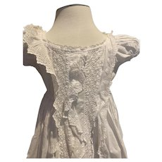 Triple Ruffle Antique Christening Gown