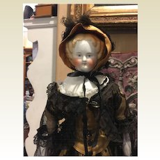 Gorgeous Antique China Head In Exquisite Costume