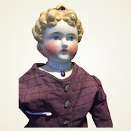 "Elegant 27"" Antique Dolly Madison China Head Doll"