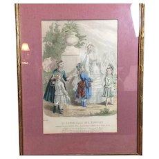 Beautiful Framed French Bridal Print circa 1870