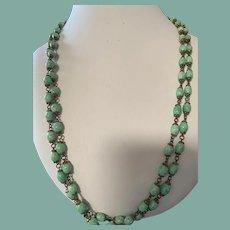 """Antique Czech Glass Necklace 27"""""""