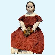 """Wonderful 34"""" Antique Glass eyed  German Papier-mâché Doll"""
