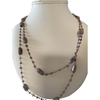 """Antique Lavender Glass Flapper Necklace-26"""""""