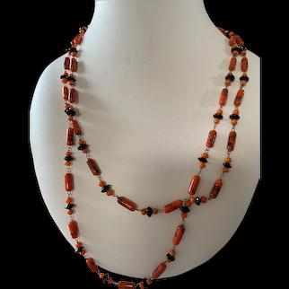 Antique Orange/Black Glass Flapper Necklace