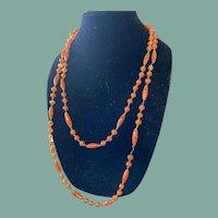 Antique Orange Bohemian Glass Necklace