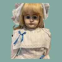 "Sweet blue eyed 29"" antique papier-mâché doll"