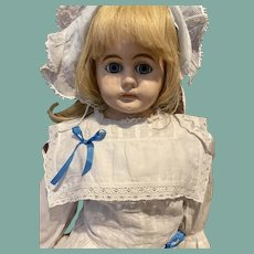 """Sweet blue eyed 29"""" antique papier-mâché doll"""