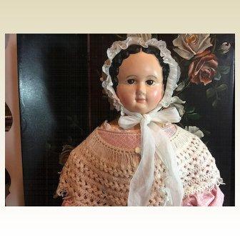 "Beautiful Antique Paper mache Doll -31"" tall"