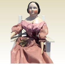 "Antique Pink Tint China Head Doll-23"" tall"