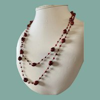 Antique Deep Orange Glass Flapper Necklace