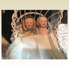Twin Dome Head Brother Sister Bisque Dolls with Cradle!