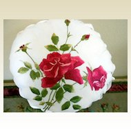 Rose Embroidered Round Pillow