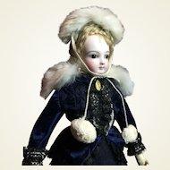 French Fashion Genuine Fur Cape & Hat & Fan