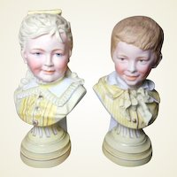 "Fabulous Antique German Porcelain Matching Busts of Boy and Girl-10"" Tall"