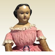 "Huge Antique Paper Mache Doll-34"" Tall"