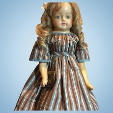 """Lovely Large Antique Wax Over Paper maché Doll-28"""" Tall"""