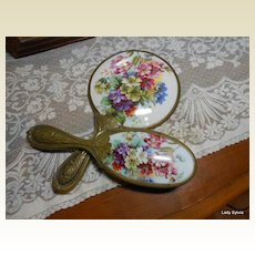 Porcelain Painted Vanity Mirror & Brush- Truly Exquisite!