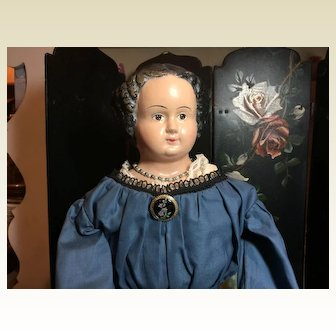 """26"""" Tall Antique Papermache Doll"""