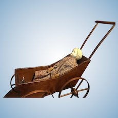Primitive Early Wood Doll Stroller