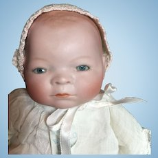 """Small 12"""" Bisque Head Bye-Lo with Tagged Dress- On Sale!"""